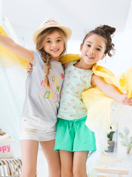 Girls' T-Shirt with Stripes, Print and Sequins WHITE LIGHT STRIPED