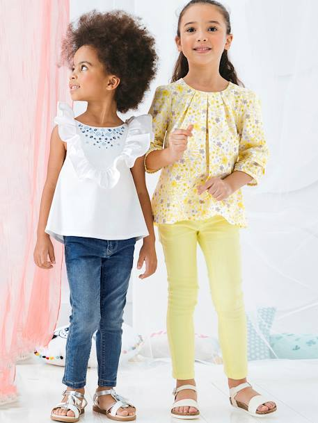 Girls' Embroidered Blouse, with Frills WHITE LIGHT SOLID WITH DESIGN