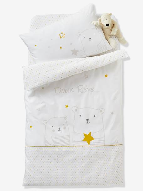 Fitted Sheet for Babies, Dreamin' of Stars Theme WHITE LIGHT ALL OVER PRINTED