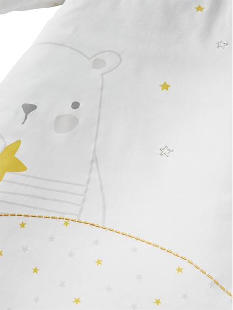 Baby Sleep Bag with Detachable Sleeves, Dreamin' Teddy Theme WHITE LIGHT SOLID WITH DESIGN