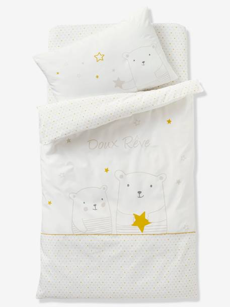 Pillowcase for Babies, Dreamin' of Stars Theme WHITE LIGHT SOLID WITH DESIGN
