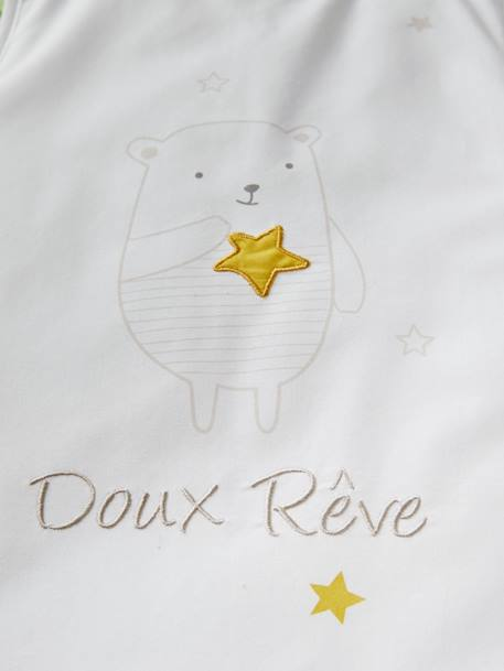 Sleeveless Baby Sleep Bag, Dreamin' Teddy Theme WHITE LIGHT SOLID WITH DESIGN