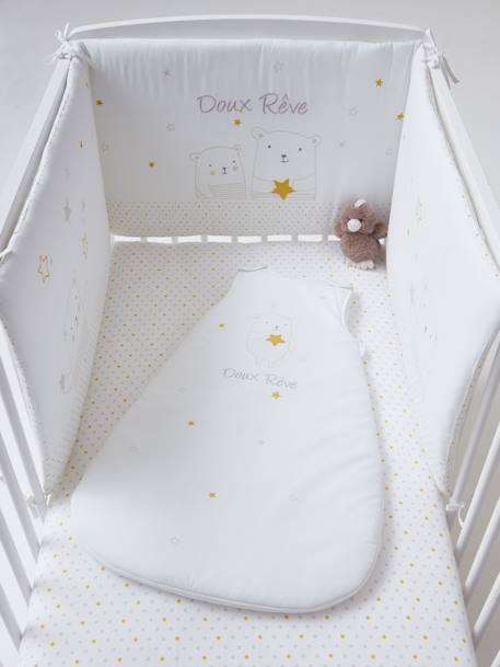 Cot Bumper, Dreamin' of Stars Theme WHITE LIGHT SOLID WITH DESIGN