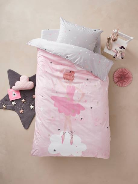 Duvet Cover + Pillowcase Set for Children, Dancing Stars Theme PINK LIGHT SOLID WITH DESIGN
