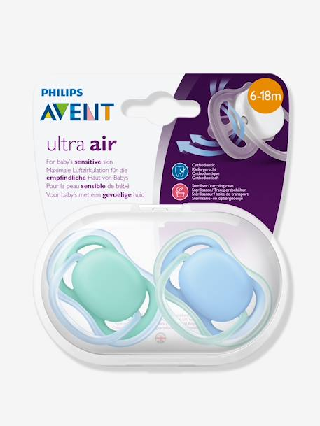 1st & 2nd Stage 2-Pack Soothers by Philips AVENT BLUE LIGHT SOLID