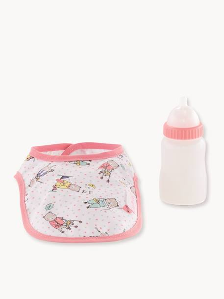 Corolle Bib & Magic Milk Bottle PINK BRIGHT SOLID WITH DESIG
