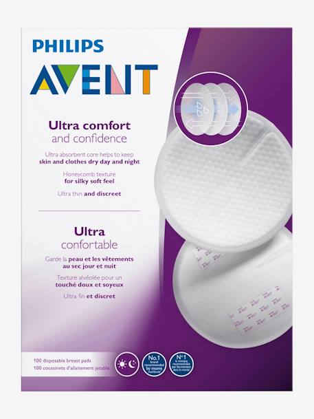 Pack of 100 Philips AVENT Disposable Breast Pads WHITE MEDIUM SOLID