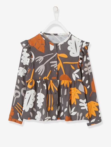 Printed Blouse in Viscose for Girls GREY DARK ALL OVER PRINTED