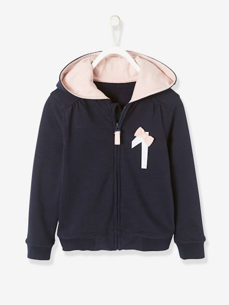 Hooded Cardigan with Zip for Girls BLUE DARK SOLID WITH DESIGN+PINK LIGHT SOLID WITH DESIGN
