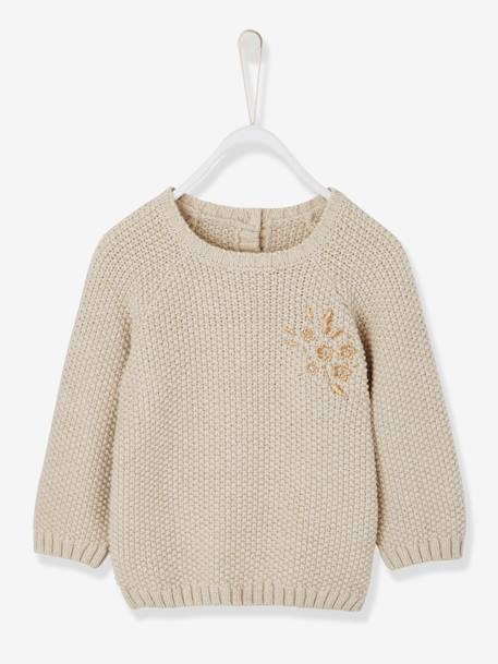 Jumper with Iridescent Decorative Stitch, for Baby Girls BEIGE MEDIUM SOLID WITH DECOR