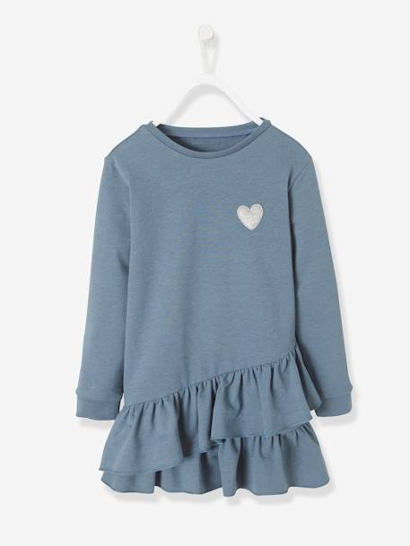 Iridescent Fleece Dress for Girls BLUE DARK SOLID WITH DESIGN+GREY LIGHT MIXED COLOR+PINK DARK SOLID WITH DESIGN