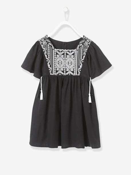 Embroidered Dress for Girls BLACK DARK SOLID WITH DESIGN