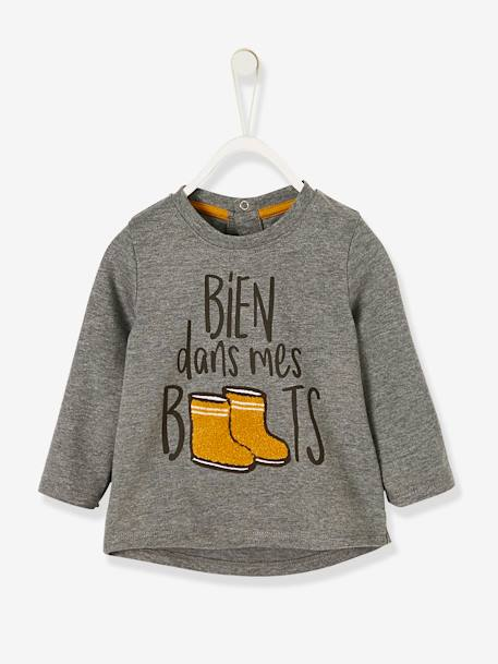 Top with Motif 'bien dans mes boots', for Baby Boys GREY MEDIUM MIXED COLOR