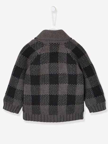 Cardigan with Large Collar, Lined, for Baby Boys GREY DARK CHECKS