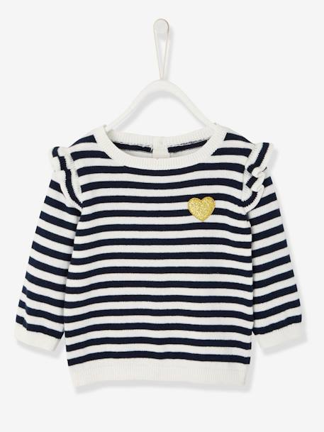 Jumper with Frill for Baby Girls BLUE DARK SOLID WITH DESIGN+BLUE DARK STRIPED