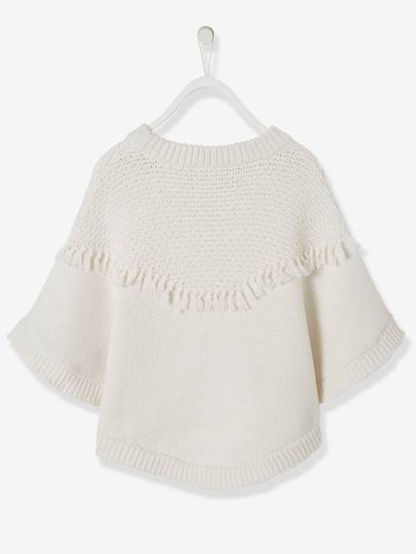 Poncho with Fringes, for Girls WHITE LIGHT SOLID