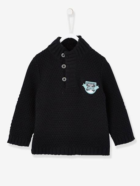 Knitted Jumper for Baby Boys with Fox Patch BLACK DARK SOLID WITH DESIGN