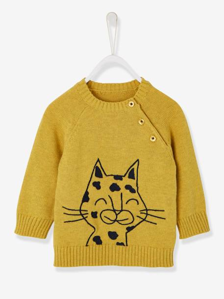 1dcac7bf6685 Jumper with Fabric Motif for Baby Boys - yellow dark solid with design ...