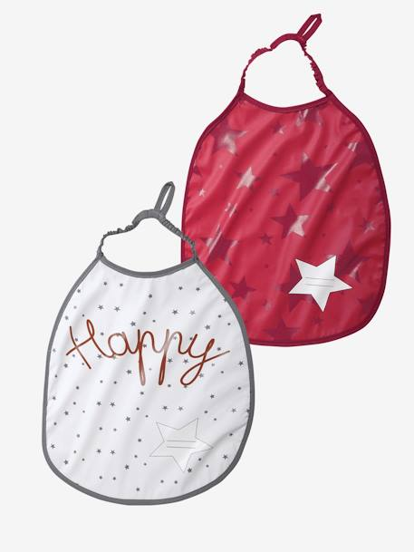 VERTBAUDET Pack of 2 Bibs with Name Tag Fuchsia / white dot