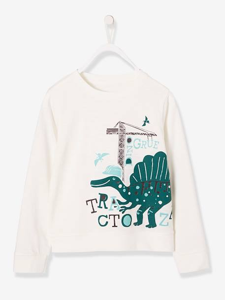 Long-Sleeved Printed Top for Boys WHITE LIGHT SOLID WITH DESIGN