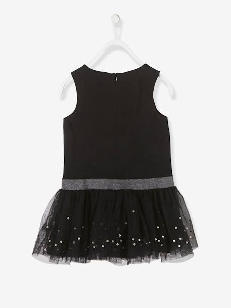 Girls' Sleeveless Tulle & Sequins Dress BLACK DARK SOLID WITH DESIGN