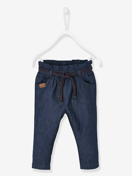 Jeans for Babies with Gathered Waistband + Belt BLUE DARK SOLID