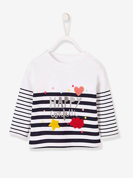 Baby Girls' T-Shirt with Glittery Stripes BLUE DARK STRIPED