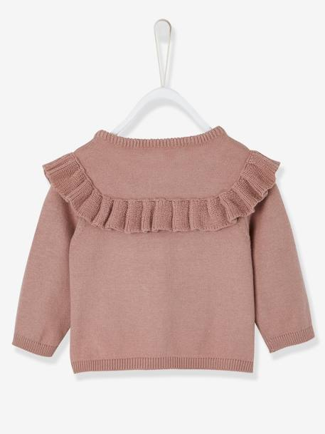 Knitted Cardigan with Frill for Newborn Babies PINK DARK SOLID