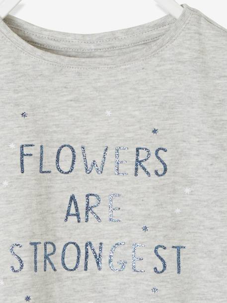 T-Shirt with Message for Girls GREY LIGHT MIXED COLOR
