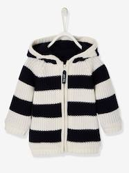 Baby-Cardigans & Sweaters-Striped Knitted Cardigan with Lined Hood for Baby Boys