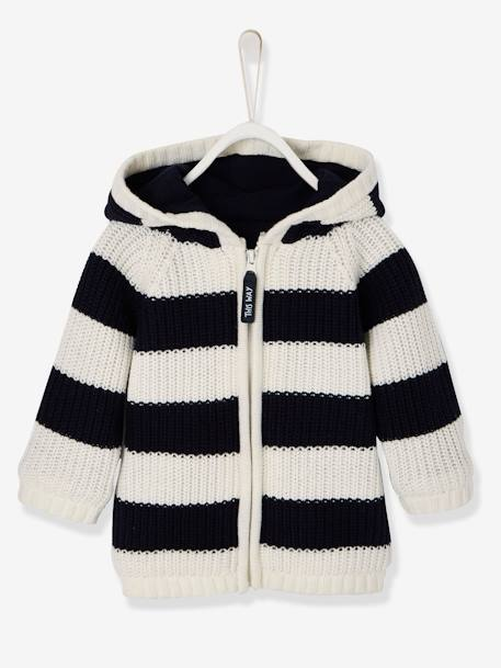 Striped Knitted Cardigan with Lined Hood for Baby Boys BLACK DARK STRIPED+BLUE DARK STRIPED