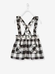 Girls-Skirts-Chequered Twill Skirt with Ruffles and Straps for Girls