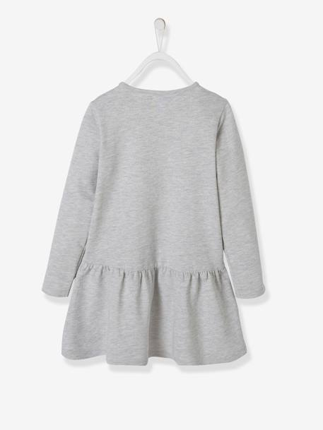 Slub Fleece Dress for Girls GREY LIGHT MIXED COLOR+ORANGE MEDIUM SOLID WITH DESIG+PINK LIGHT SOLID WITH DESIGN