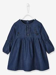 Baby-Dresses & Skirts-Embroidered & Frilled Denim Dress for Baby Girls