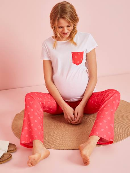 Maternity Nightwear, Long-Sleeved T-Shirt with Printed Pocket BLUE DARK SOLID WITH DESIGN+ORANGE BRIGHT SOLID WITH DESIG+WHITE LIGHT SOLID WITH DESIGN