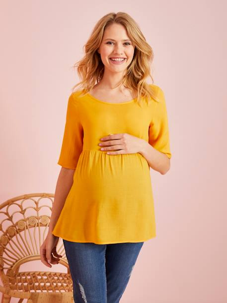 Loose-Fitting Maternity Blouse ORANGE BRIGHT STRIPED+ORANGE LIGHT SOLID