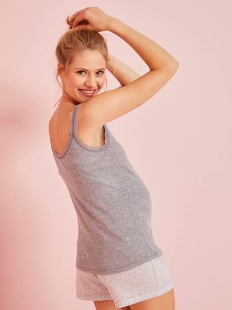 Maternity Top with Pointelle Motifs GREY LIGHT MIXED COLOR+PINK LIGHT SOLID+WHITE LIGHT SOLID