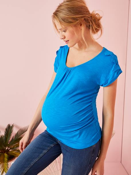 Maternity Loose-Fitting Top with Macramé on the Shoulders BLUE MEDIUM SOLID+YELLOW DARK SOLID