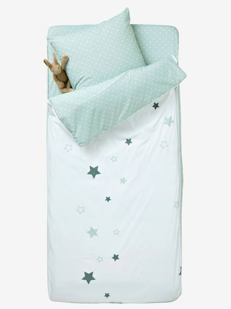 Ready-for-Bed 3-Piece Set without Duvet, Aqua Theme White/grey