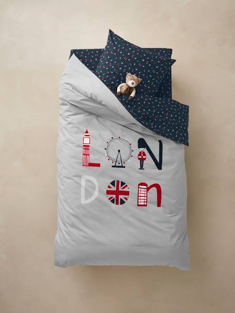Duvet Cover + Pillowcase Set for Children, London Theme GREY LIGHT SOLID WITH DESIGN