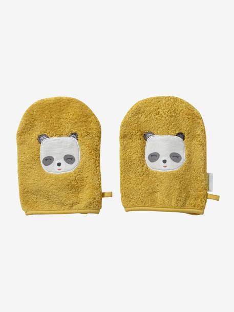 Pack of 2 Wash Mitts, Panda YELLOW DARK SOLID WITH DESIGN