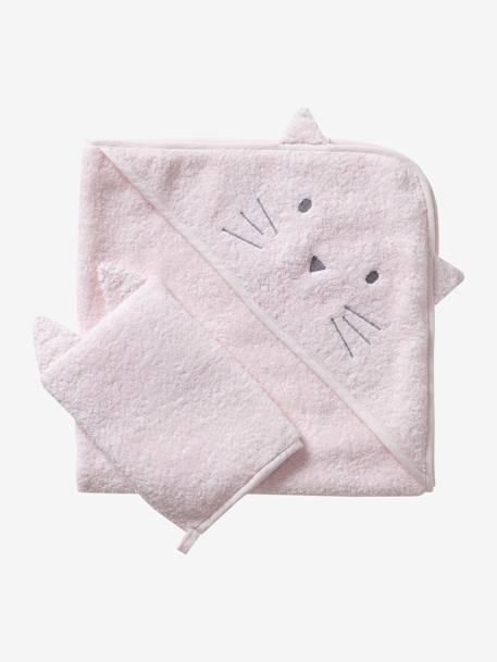 Bath Cape + Wash Mitt, in Organic Cotton GREY LIGHT SOLID+PINK LIGHT SOLID+WHITE LIGHT SOLID