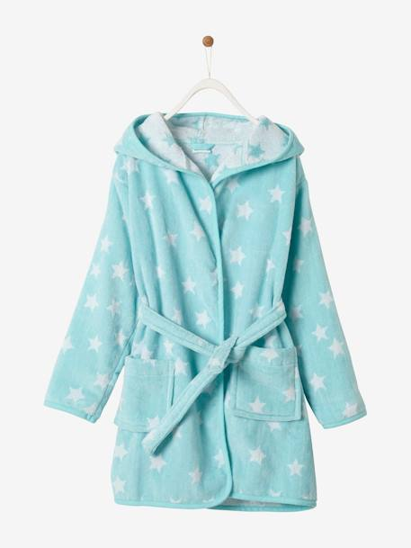 Hooded Bathrobe for Children with Star Print BLUE DARK ALL OVER PRINTED+BLUE MEDIUM ALL OVER PRINTED+GREY DARK ALL OVER PRINTED+PINK BRIGHT ALL OVER PRINTED+PINK LIGHT ALL OVER PRINTED+WHITE LIGHT ALL OVER PRINTED