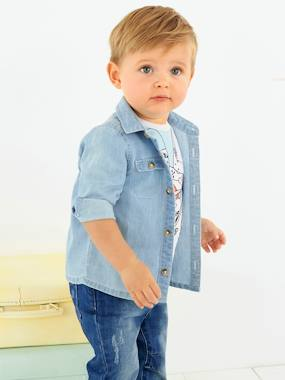 Baby Boys' Cambric Shirt blue light wasched