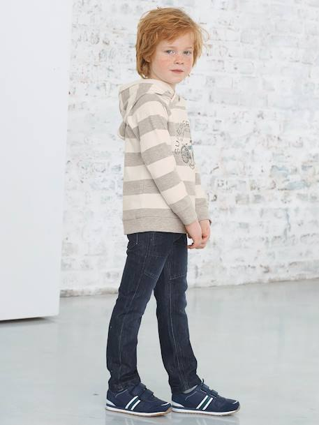 WIDE Fit - Boys' Straight Cut Trousers BLACK MEDIUM WASCHED+BLUE DARK WASCHED