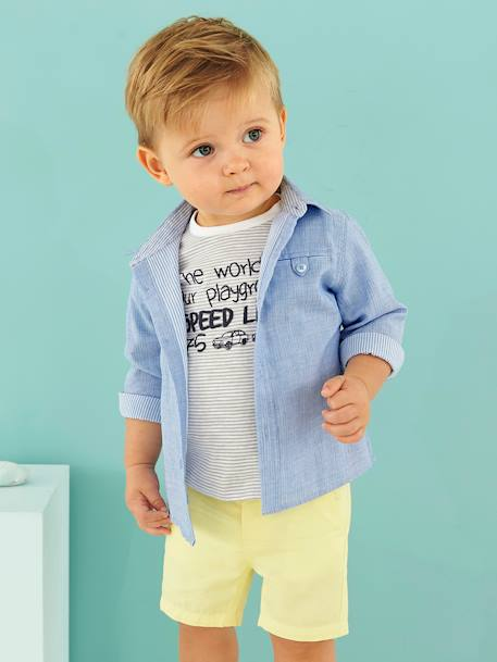 Baby Boys' Double-Sided Shirt BLUE LIGHT SOLID