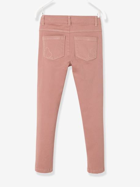 MEDIUM Hip Slim Trousers for Girls BROWN DARK SOLID+GREEN DARK SOLID+PINK LIGHT SOLID+YELLOW DARK SOLID