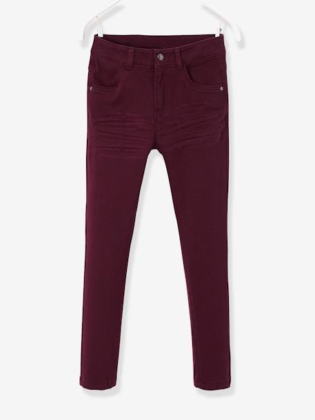 WIDE Hip Slim Trousers for Girls BLUE DARK SOLID+BROWN DARK SOLID+GREEN DARK SOLID+PINK LIGHT SOLID+YELLOW DARK SOLID
