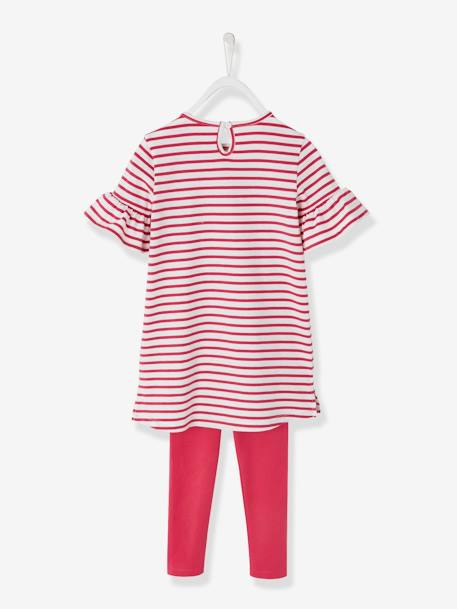 Printed Dress + Leggings Outfit for Girls PINK DARK STRIPED