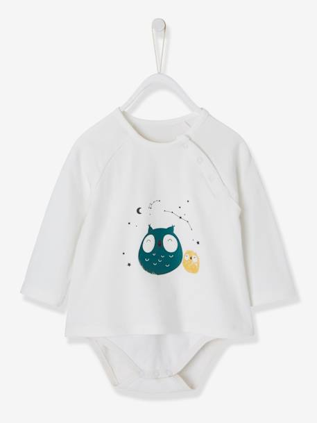 T-Shirt-Bodysuit with Motif & Knitted Leggings Outfit for Newborn Babies WHITE LIGHT SOLID WITH DESIGN+WHITE LIGHT STRIPED